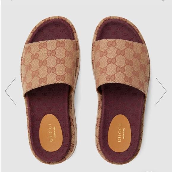 Gucci Angelina GG Supreme Platform Slide Sandal